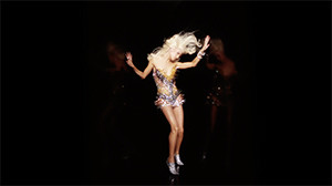 The Blonds fashion editorial clip tranny leaning on black walls