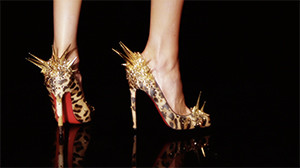 spiky luxury leopard shoes closeup